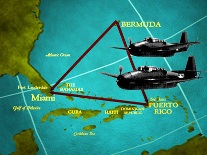 This is a drawing of the five Navy planes, Flight 19, that disappeared into the Bermuda Triangle.