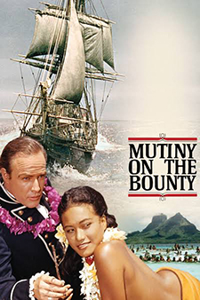 Movie poster of Marlon Brando as Fletcher Christian  in the 1962 film, Mutiny on the Bounty.