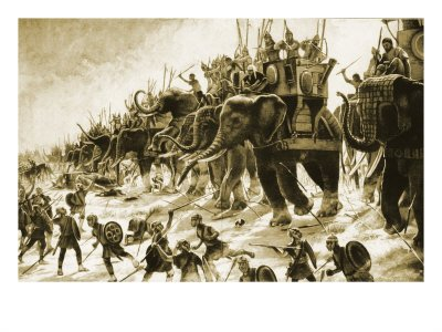 Hannibal and his elephants battle Scipio at Zama