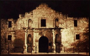 iconic photo of the 'chapel' at the alamo