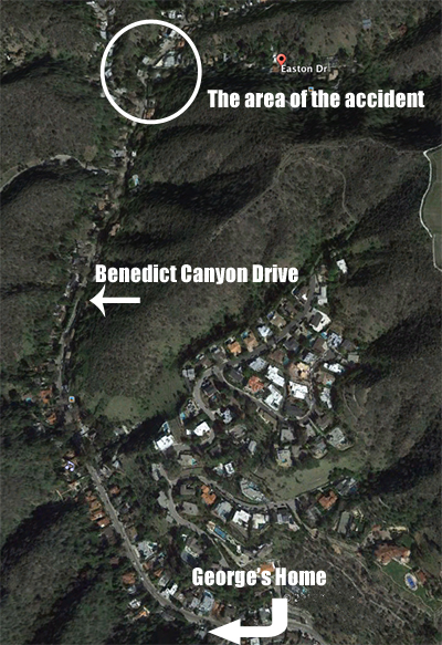 Google Earth of Benedict Canyon  and accident scene.