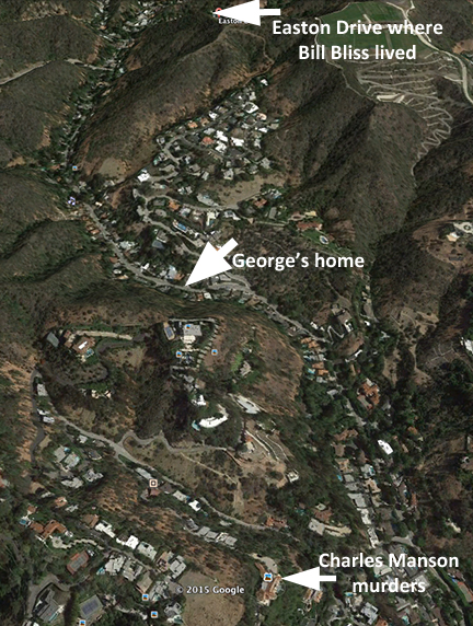 satellite view of the  location of George Reeves' home.