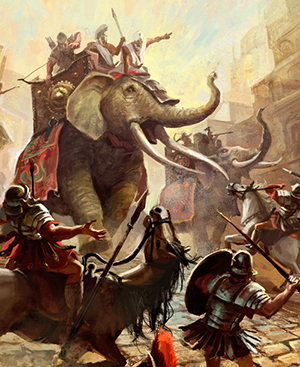 Hannibal and his elephants attacking Roman soldiers.