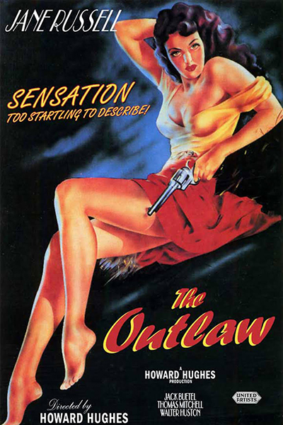 Movie poster of Jane Russell in  Hughes film 'The Outlaw'