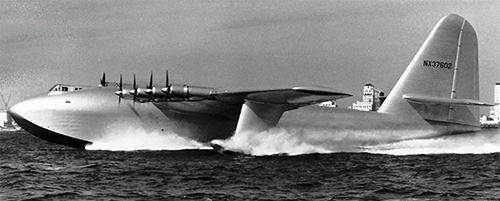 This is a photo of the  Spruce Goose as it begins to leave the water.