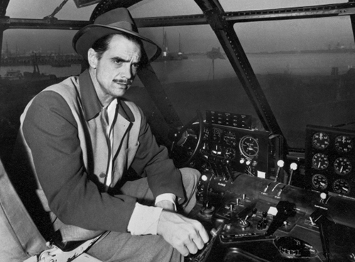 Howard Hughes at the cockpit of the  Spruce Goose.