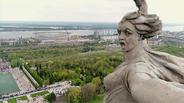 aerial photo of the gigantic  Motherland Calls monument in Volgograd