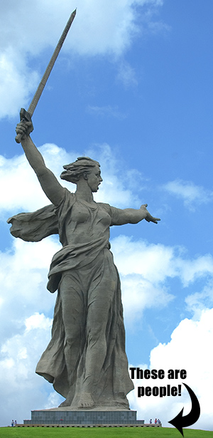 this is a photo of the  'Motherland Calling' monument. It is a woman holding an upraised sword.