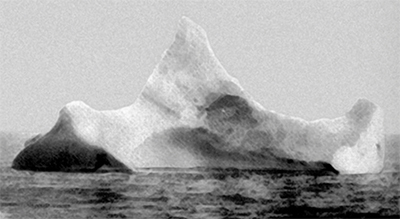 photo of iceberg,  probably the one that sank the Titanic.